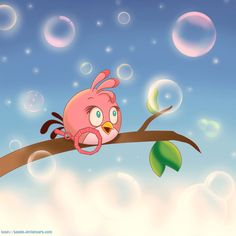 Angry Birds Pink Bird iPad Background by Hayyie from AngryBirdsNest.com