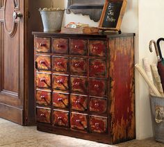 Andover Cabinet - Weathered Red finish