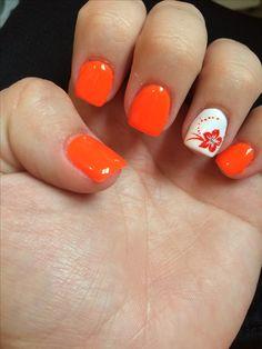 Neon orange nails with flower