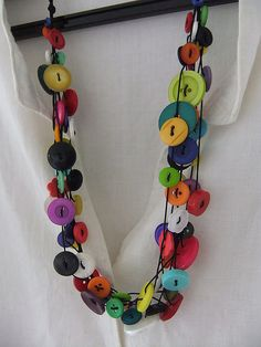 Nice button multistrand necklace on flickr