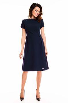 Dark Blue Short Sleeves Midi Flared Dress