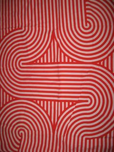 Scandinavian Collection Import  Designs vintage fabric Panton Kartell Heals vibe red white mod optical print awesomeness. $55.00, via Etsy.