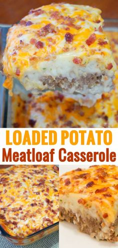 Loaded Potato Meatloaf Casserole is an easy ground beef casserole recipe loaded with mashed potatoes, bacon and cheese. Loaded Potato Meatloaf Casserole is an easy ground beef casserole recipe loaded with mashed potatoes, bacon and cheese. Easy Ground Beef Casseroles, Ground Beef Recipes For Dinner, Dinner With Ground Beef, Dinner Recipes, Dinner Ideas, Beef Casserole Recipes, Meat Recipes, Cooking Recipes, Meat And Potatoes Recipes