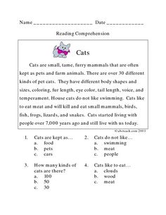 This Cats: Reading Comprehension Lesson Plan is suitable for Grade. In this reading comprehension worksheet, graders will read a paragraph about cats and answer four multiple choice questions about the passage. 3rd Grade Reading Comprehension Worksheets, Worksheets For Grade 3, Alphabet Worksheets, 3rd Grade Words, Third Grade Reading, Reading Skills, Multiple Choice, Homeschooling, Afrikaans Language