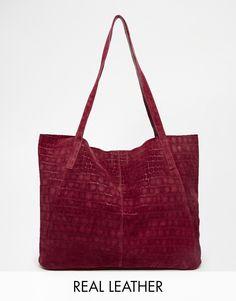 Image 1 ofASOS Suede Embossed Croc Shopper Bag