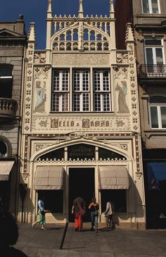 The Art Noveau facade of Lello Bookstore in Portugal.