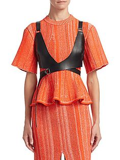 Proenza Schouler Cropped Textured-leather Top In Black Bustiers, Leather Bustier, Leather Pieces, Bustier Top, Leather Dresses, Orange Dress, Proenza Schouler, Black Women, Black Leather