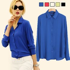 566e53a63acd9 YONO New Fashion Women Shirts Casual Loose Summer Blusa Mujer Chiffon  Blouse Full Sleeve Ladies Solid Candy Color Hot Plus Size