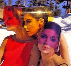 Peggy Moffitt, Lydia Fields & Leon Bing wearing sun visors by Layne Nielson _ Photo by William Claxton,