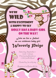 Wild jungle safari baby animal baby shower invitations pink girl jungle safari zoo animals pink baby by elsacarolinedesigns 1000 filmwisefo