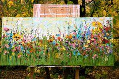 Groot olieverfschilderij landschap Abstract landschap Impasto Engels bloemen moderne keuken kleurrijke aangepaste blauw roze geel groen tuin land Dit werk werd gemaakt door het voorbeeld van het werk https://img1.etsystatic.com/069/0/9517958/il_170x135.810006689_oluk.jpg, maar op