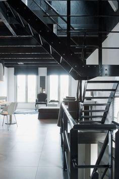 Boterwaag in Journe - vtwonen. Loft Interiors, Industrial Interiors, Industrial Loft, Industrial Living, Factory Architecture, Interior Architecture, Loft Interior Design, Modern Interior, Loft Studio