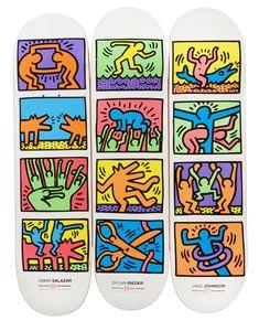 HARING Keith (1990-1958) Sans titre, 2014 Sérigraphie sur bois, ensemble de trois planches 3 skateboards. Edition Alien Workshop en collaboration avec the Keith Haring Foundation 83 x 21 cm (chaque planche) Sold 320 € on www.artprecium.com #ArtAuction