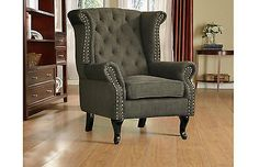 New Roxy Luxury Fabric Fireside Wing Back Chair / Armchair Charcoal Grey