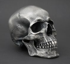 Silvered Bronze Full size Human Skull
