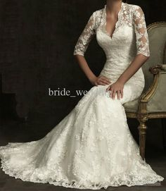 Wholesale 2013 Fall Vintage Mermaid Wedding Dress Lace V Neck High Neck Half Sleeves Sheer Back with Button, $152.32-166.0/Piece | DHgate
