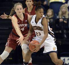 Chattanooga forward Moses Johnson (23) drives against Stanford's Karlie Samuelson (44)