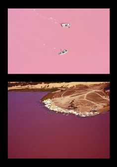 Lake Retba or Lac Rose lies north of the Cap Vert peninsula of Senegal, north east of Dakar. Depending on the time of day, the lake changes colour from a light purple to a deep scarlet pink. The unusual colouring of the water is caused by harmless halophilic bacteria that thrive in the lake's high-salinity environment. The color is particularly visible during the dry season.