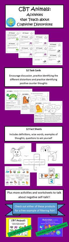 "As a follow up to the successful CBT Animals: Stories that Teach Cognitive Distortions, this activities can be used alone or as an enhancement to teach what are sometimes difficult to understand cognitive distortions.  Includes task cards, fact sheets and other activities!  Check out the product preview for a free sample of the activities for ""Filtering Fish."""