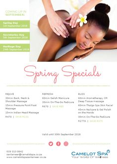 Has 2018 been a hectic year for you? The Spring Specials at the Camelot Spa at San Lameer will help take away the stresses of work and make you feel like you are in paradise. 5 Star Spa, Secretary's Day, Shoulder Massage, Deep Tissue, Pressure Points, Spring Day, Aromatherapy, Facial, Paradise