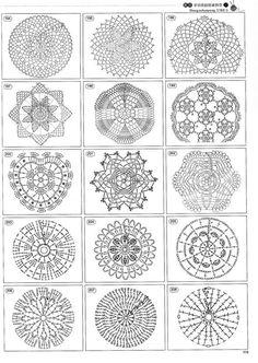 Schemes crochet motifs and patterns . Discussion on LiveInternet - Russian Service Online diary Mandala Au Crochet, Crochet Motifs, Crochet Diagram, Crochet Stitches Patterns, Crochet Chart, Crochet Squares, Thread Crochet, Crochet Granny, Filet Crochet