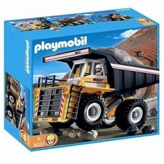 Playmobil 4037 Transport Set: Heavy Duty Dump Truck by Playmobil. $54.99. Please note: This item may ship in the original manufacturer shipping carton which contains Playmobil logos as well as a tiny picture of the item enclosed. Please consider shipping to an alternate address if this is a gift.. 15.7 x 13.8 x 5.9 inches. with big dump and boulders.