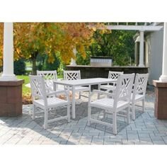 Vifah Bradley Acacia White 7 Piece Patio Dining Set With 32 In. W Table And  Herringbone, Back Armchairs