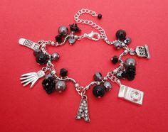 Pretty Little Liars Black Charm Bracelet by MyBeadedTreasures, £20.00