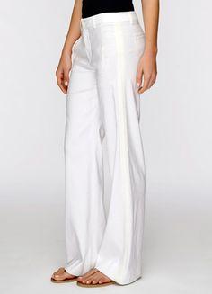 vince linen with silk strapping, $178 Joan Vass Lined White Linen Blend Slim Leg Pants Sz 6