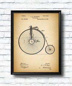 Retro 1881 Velocipede Vintage Patent Illustration by UltraPrint