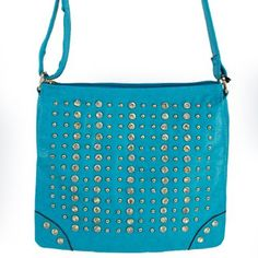 """Click Here and Buy it On Amazon.com $35.99 Amazon.com: New Arrival """"Designer Inspired"""" Bling Bling Rhinestone and Small Round Golden Rivet Studded Solid Trifold Style Messanger Bag / Crossbody Bag in Turquoise Blue: Clothing"""