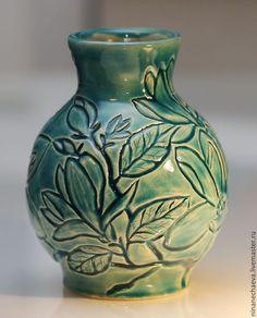 Ceramic vase / Вазы ручной работы. Ярмарка Мастеров - ручная работа. Купить Керамическая ваза Ветка магнолии. Handmade. Бирюзовый, ваза с цветами