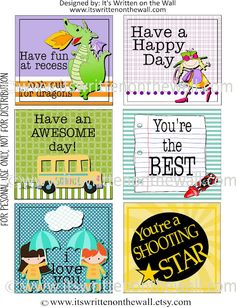 FREEBIE 48 Lunchbox Notes--Kids love getting  a special note from Mom!
