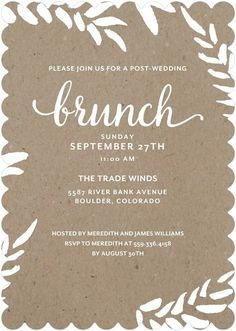 Lasting Leaves - After Wedding Brunch Invitations - Picturebook - Reef - Blue : Front