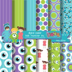 Digital Paper Kids Monster Inc. por GabzDesignShop en Etsy, $5.00