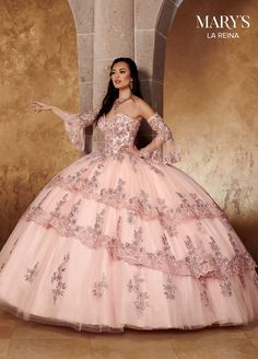 Quinceanera Dresses Blush, Mexican Quinceanera Dresses, Pink Prom Dresses, 15 Dresses, Pretty Dresses, Princess Dresses, Tulle Ball Gown, Ball Gown Dresses, Pink Ball Gowns