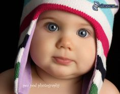 child with blue eyes, hat