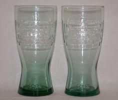 Set of 2 Vintage McDonald's Famous 15¢ Hamburgers Green Tinted Retro Coke Glass #McDonalds