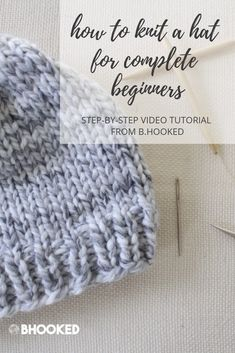 Easy Knit Hat - How to Knit a Hat for Complete Beginners Want to learn how to knit a hat? Make your first easy knit hat with this free pattern and step-by-step tutorial. You'll knit your first hat in no time! Baby Hats Knitting, Loom Knitting, Free Knitting, Crochet Hats, Knit Crochet, Knitted Baby Hats, Newborn Knit Hat, Loom Knit Hat, Crochet Edgings