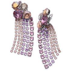 Tory Burch Stone Cascade Earring found on Polyvore featuring jewelry, earrings, tory burch earrings, swarovski crystal earrings, drusy earrings, stud earrings and clip earrings