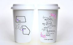 "First My Mother, Forever My Friend; Never Apart Long Distance Travel Mug. ""First my mother, forever my friend. Together forever, never apart. Maybe in distance, but never at heart"". What better gift than to give your long distance mom a way to share her morning coffee with you every morning?! Perfect for Mother's Day and Birthday, or even just because! ------------------------- .: DETAILS :. * One Travel Mug * Available in all States, Provinces, & Countries * Design - Front & Back *..."