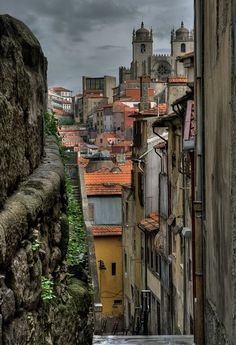 Ancient streets in Porto,Portugal