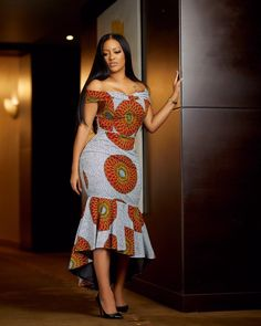 Gorgeous Off Shoulder Ankara Gown Ankara Short Gown Styles, Ankara Gowns, Short Gowns, Ankara Dress, Frock Images, Dress Images, Simple Frocks, Ankara Skirt And Blouse, Long Sleeve Gown