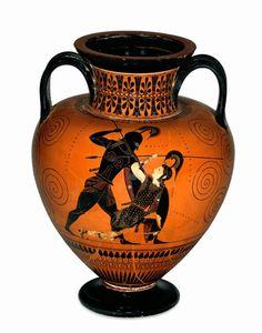 ACHILLES KILLS PENTHESILEA AMPHORA (540 B.C.E)