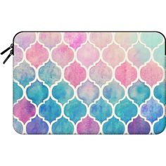 Macbook Sleeve - Rainbow Pastel Watercolor Moroccan Pattern ($60) ❤ liked on Polyvore featuring accessories, tech accessories and macbook sleeve