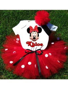 Birthday Minnie Mouse Tutu Outfit Costume by PrettyAsAPrincess2, $39.99