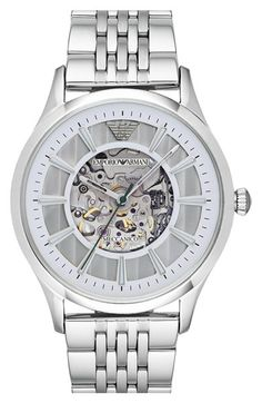 Emporio Armani Skeletal Automatic Bracelet Watch, 43mm