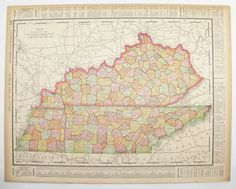 Antique Kentucky Map Vintage Tennessee Map Ohio Map State County Old 1896 Gift for Home Office Wedding Prop Travel Map Unique Gift Under 20 by OldMapsandPrints