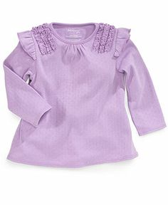 First Impressions Baby Shirt, Baby Girls Long-Sleeved Ruffle Top - Kids Baby Girl (0-24 months) - Macy's
