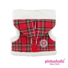 Pinkaholic NY Santa's Hooded Vest Harness in Metallic Red Check Plaid with Contrasting Supersoft Faux Fur trimmed Hoodie and contrast Plush Fleece Lining